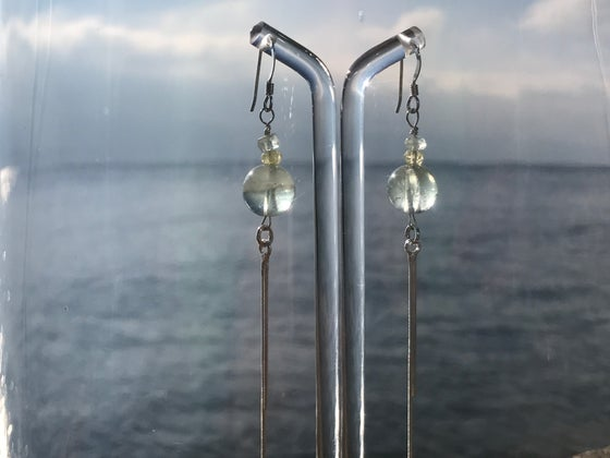Image of Sterling silver, aquamarine earings