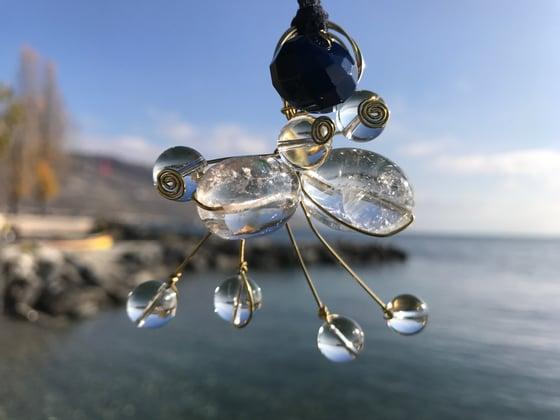 Image of Cristal quartz, blue agata, atom pendant