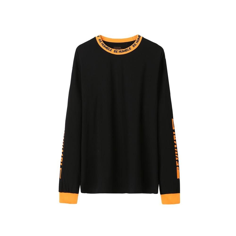 Image of Be Humble LS Tee (Black/ Orange)