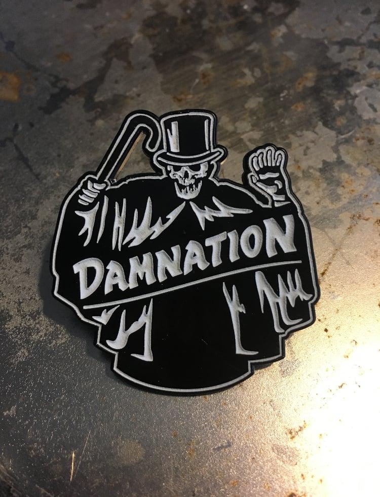 "Image of The ""Shroud"" glow in the dark 1.75"" enamel pin"