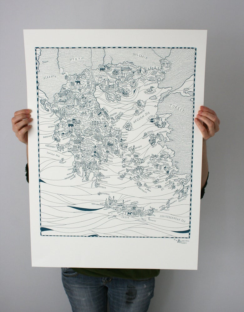 Image of Map of Greece - Limited edition screen printed poster