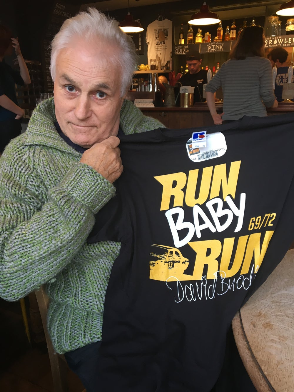 Image of Run Baby Run official t-shirt endorsed by David Brode