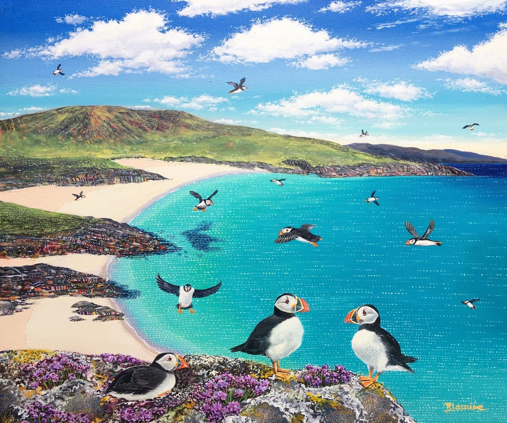 Image of Mingulay puffins LARGE giclée print