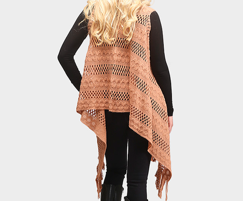 Image of Cable Knit Fringe Vest