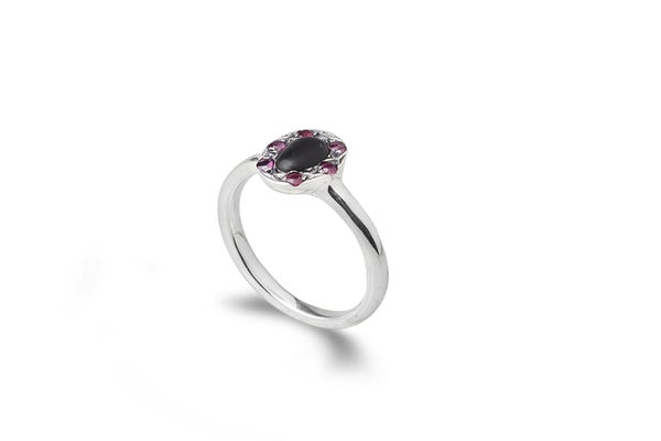 Image of Milady ring with stone and rubies