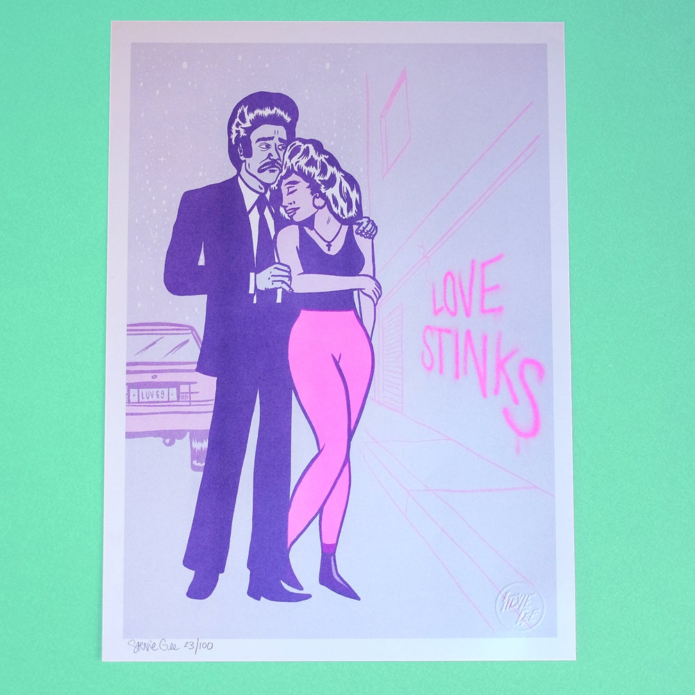 "Image of ""LOVE STINKS"" LIMITED EDITION A3 RISOGRAPH PRINT"