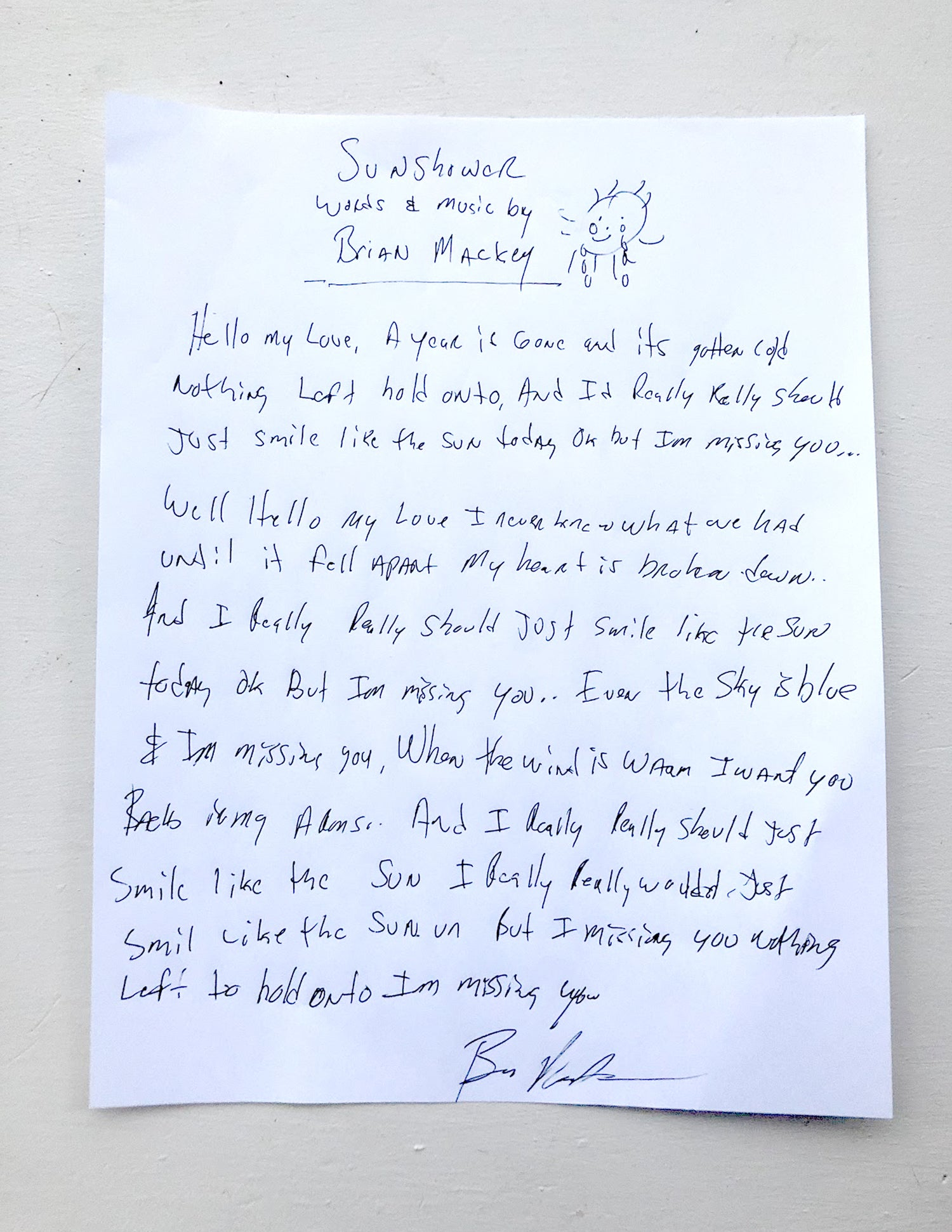 Image of Hand Written Lyrics