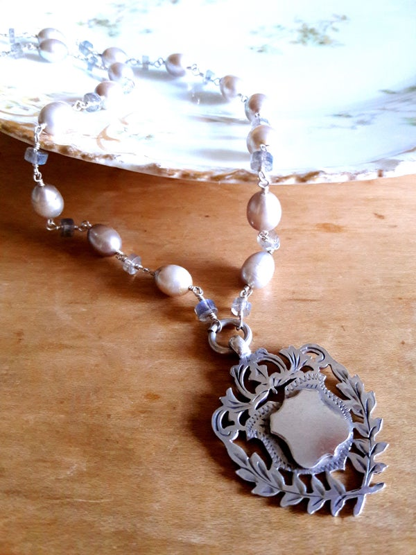 Image of 1898 Sterling Fob with Laurels, Gray Pearls- 3OT