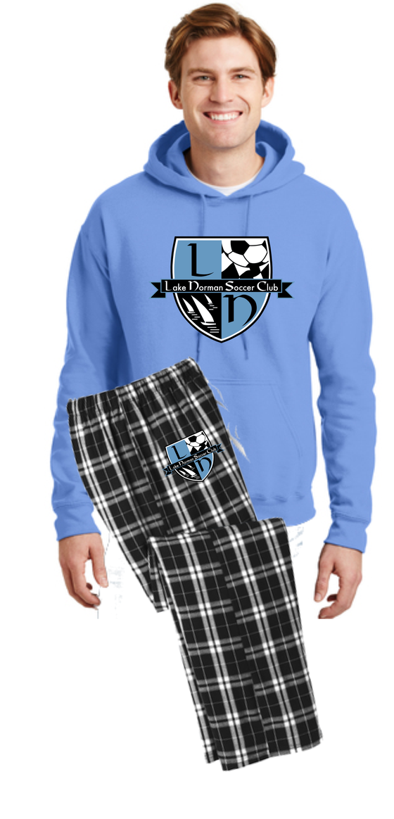 Image of Young Mens Tournament Lounging Set - Carolina Blue Hoodie/Black Flannel