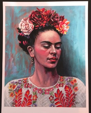 Image of Frida with White Huipil - Special Edition Hand-Embellished Canvas Print (unframed)