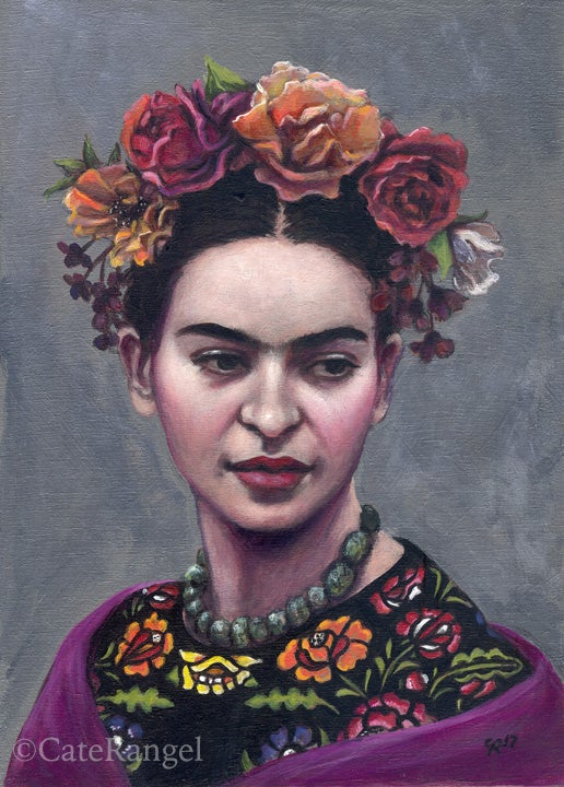 Image of Frida with Black Huipil - Special Edition Hand-Embellished Canvas Print