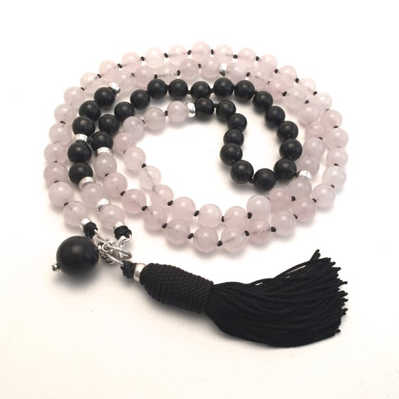 Image of New! Shungite Collar Double Infinity Rose Quartz Mala 88