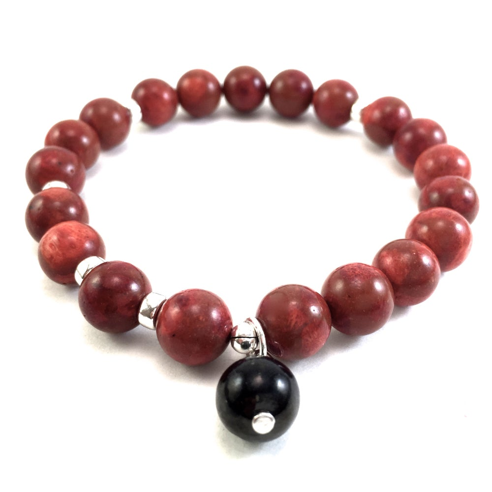 Image of Sponge Red Coral Infinity Wrist Mala