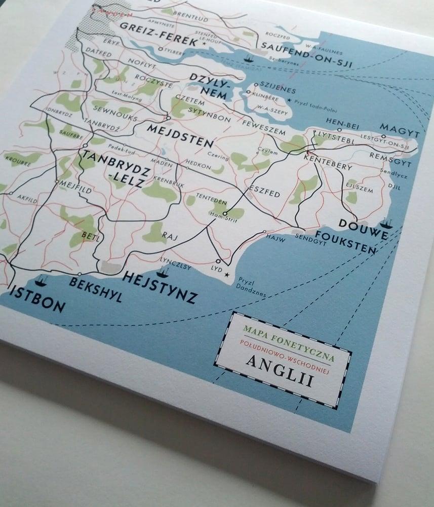 Image of Map of Kent Print - Polish phonetic map from Cold War era