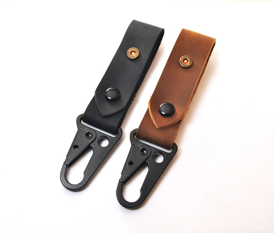 Image of Shotshell Tacticool Hanging Stoned Oil Leather HK Belt Clip Keychain Key Holder