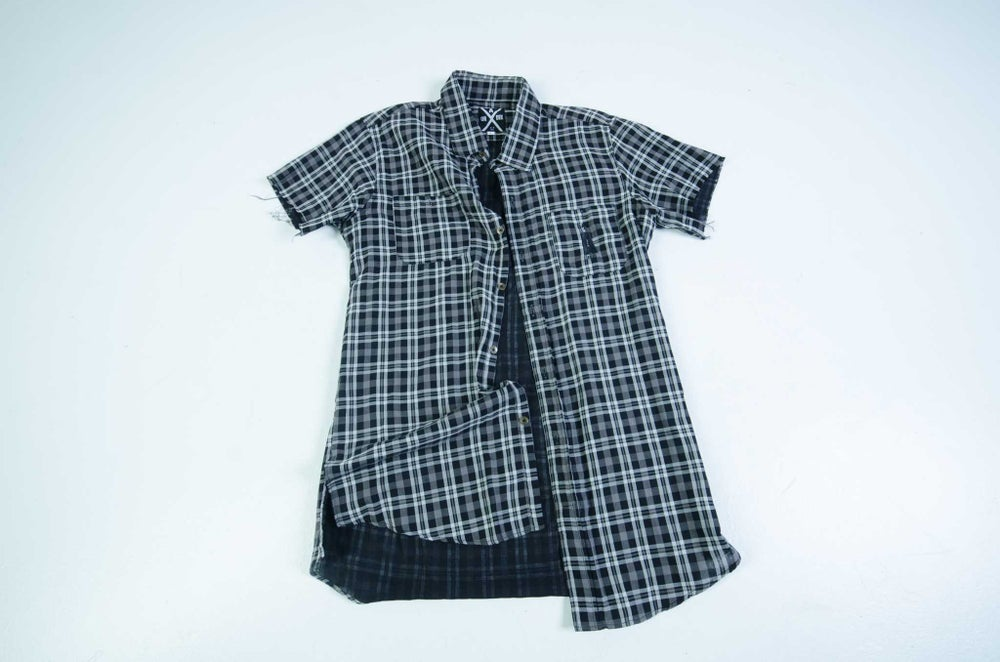 Image of Longline button up shirt raw hem sleeve