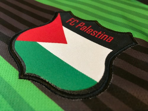 Image of Palestine Black hooped (Green/Black) L/S Football Shirt