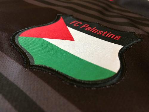 Image of Palestine Black hooped Football Shirt