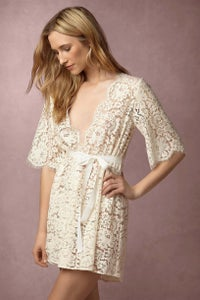 Image of Girl&aSeriousDream for BHLDN Araminta Lace Robe in Ivory