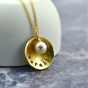 Image of Personalised Gold Hammered Name Necklace With Pearl