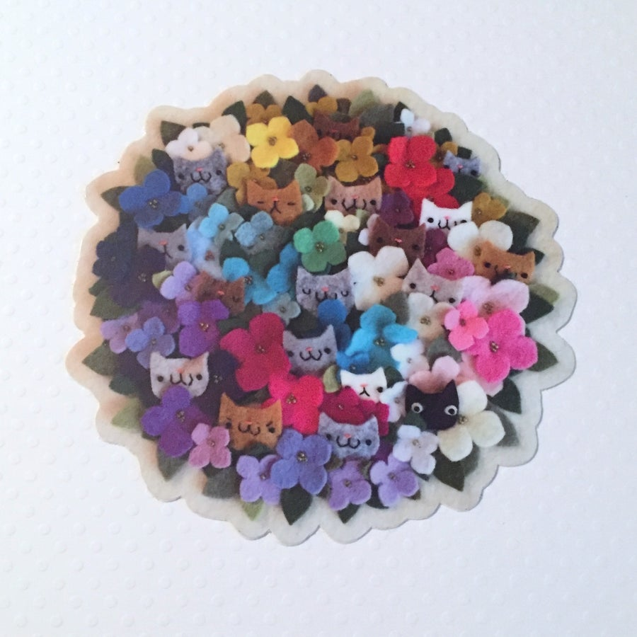 Image of cat bouquet sticker