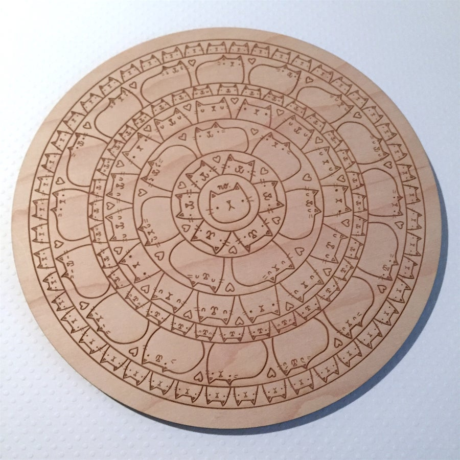Image of laser cut maple cat mandala wall hanging/trivet