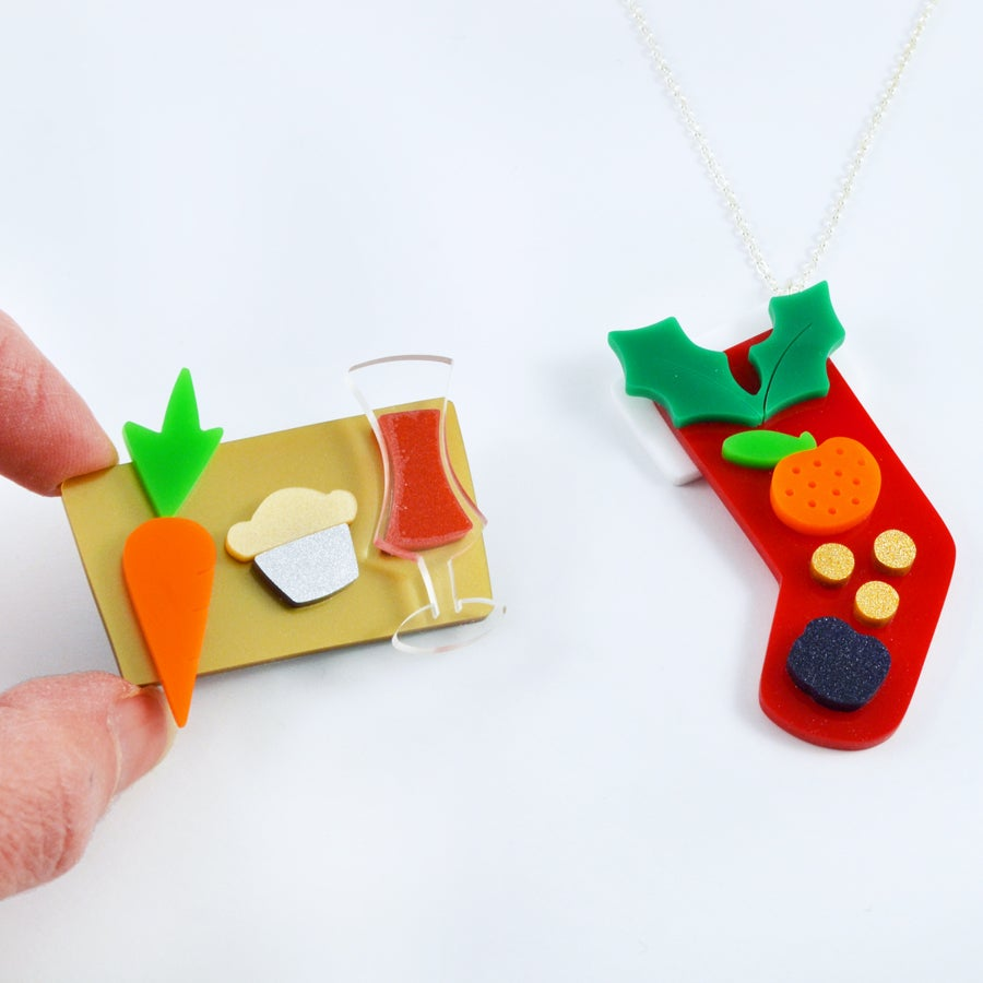 Image of Christmas Necklace and Brooch Set