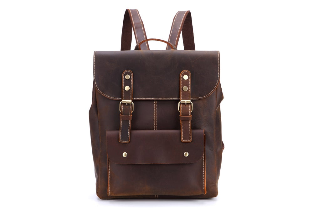 Image of Vintage Handmade Leather Backpack, Travel Backpack, School Rucksack 9452