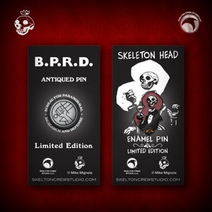 Image of Hellboy/B.P.R.D: Skeleton Head and B.P.R.D. Antiqued Logo pin set!