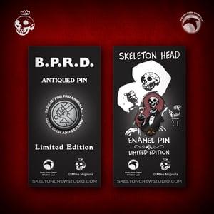 Image of Hellboy/B.P.R.D: Skeleton Head and B.P.R.D. Antiqued Logo pin set! FREE U.S. SHIPPING!