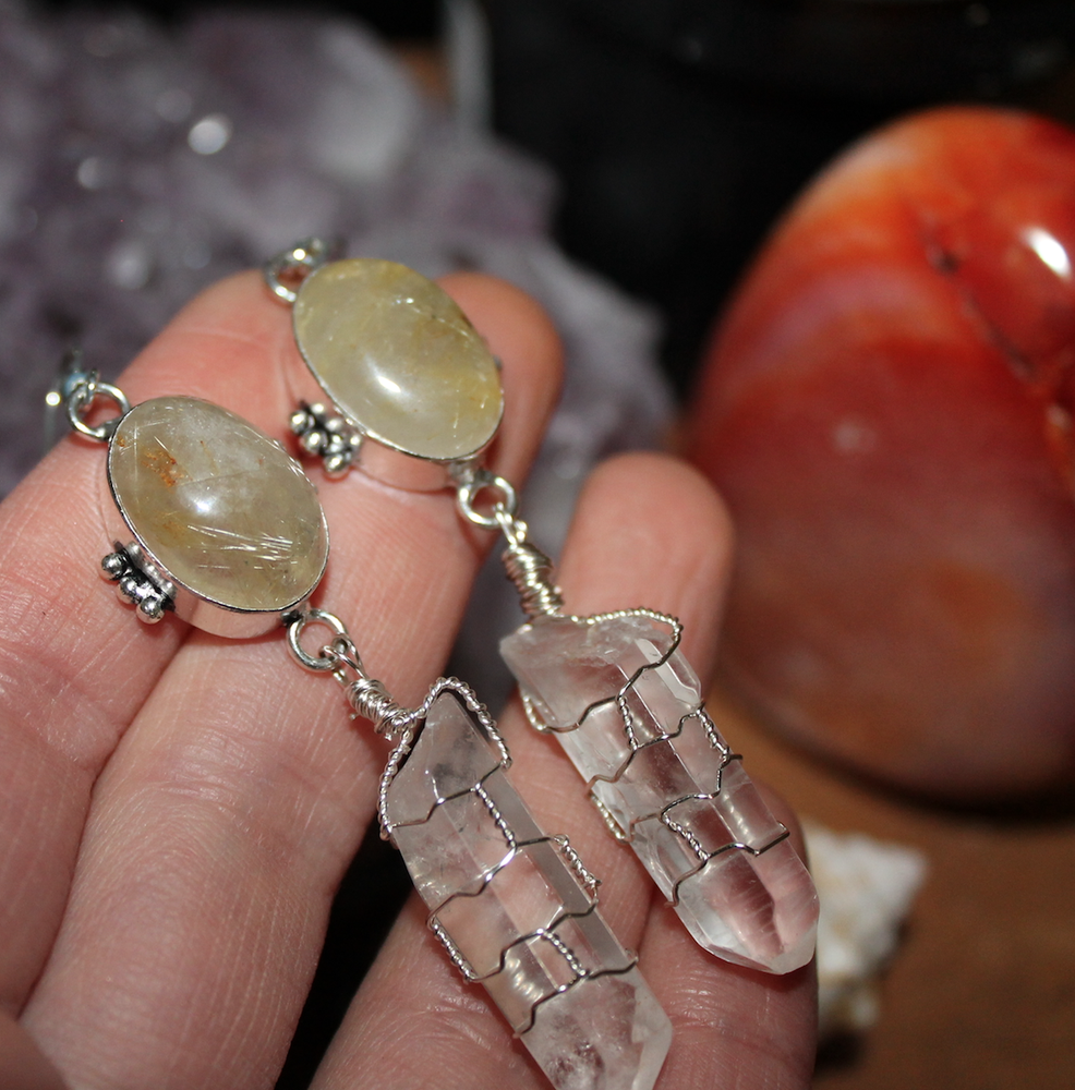 Image of Quartz & Golden Rutilated Quartz Sterling Earrings