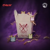 Image of CHEW: Chogs to go! Sushi Ono takeout with 4 classic Chog enamel pins! FREE U.S. shipping!