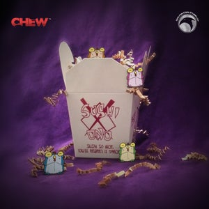 Image of CHEW: Chogs to go! Sushi Ono takeout with 4 classic Chog enamel pins!