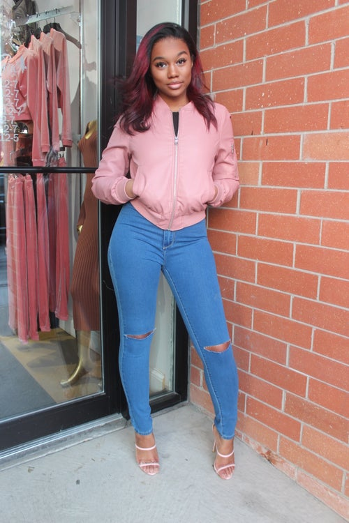 Image of Baby Pink Faux Leather Jacket