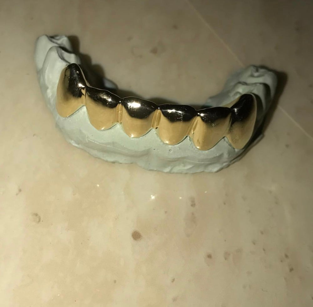 plain 6 piece custom made gold teeth
