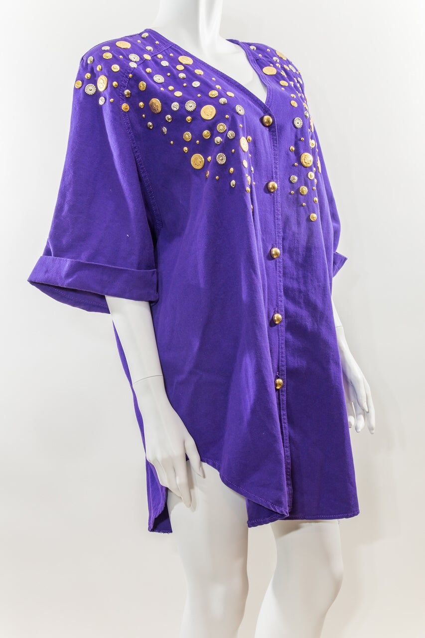 Image of Gold Coin Embellished Shirt Dress