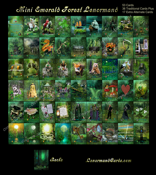 Image of Emerald Forest Lenormand Deck - 36 Traditional Cards - (also other sizes and options)
