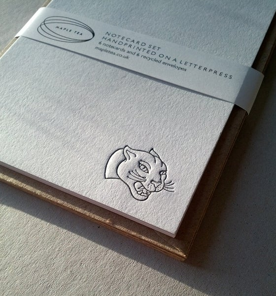 Image of A6 Notecard set, Panthers - letterpress printed