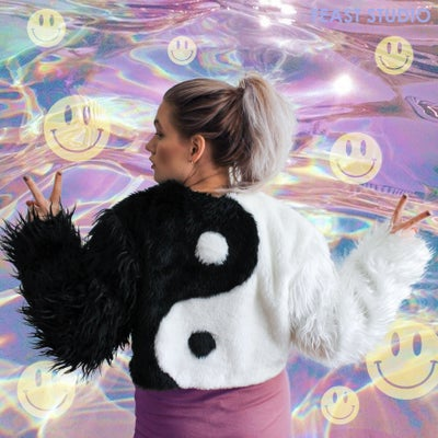 Image of YIN and YANG cropped faux fur jacket