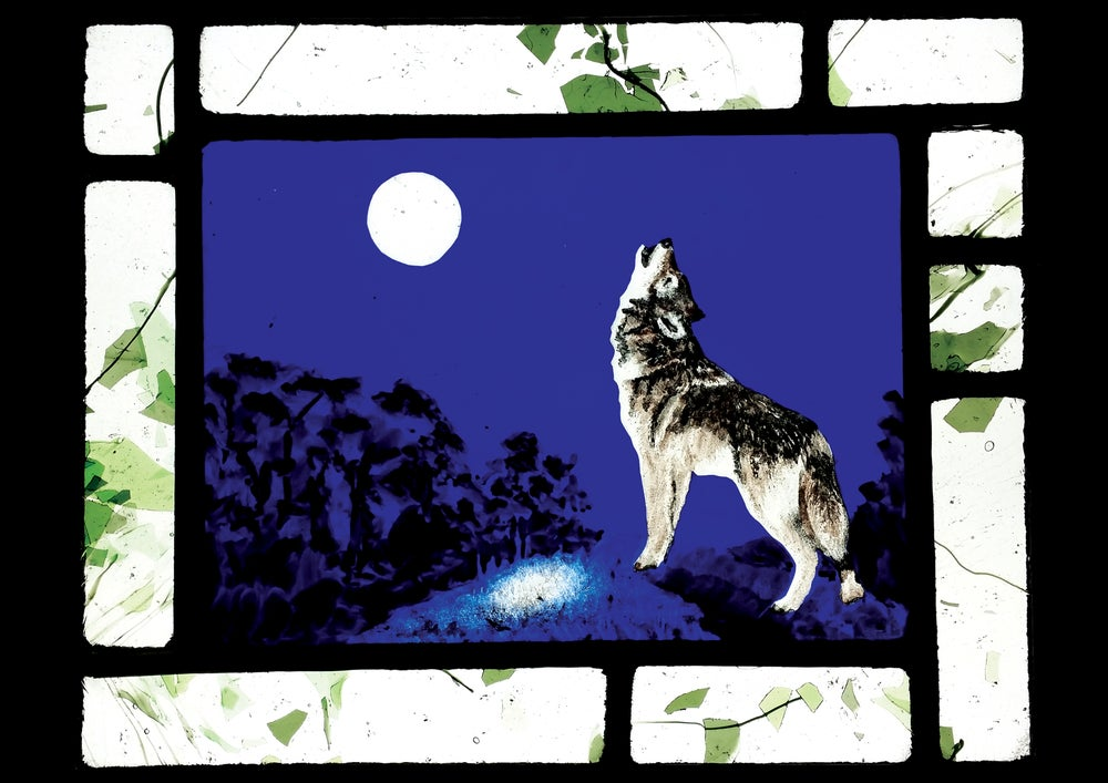 Image of Wolf and full moon panel