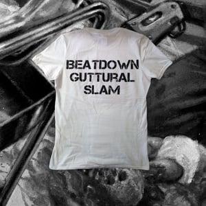 """Image of """"Beatdown Guttural Slam"""" White T-shirt"""