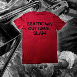 "Image of ""Beatdown Guttural Slam"" Burgundy Red T-shirt"