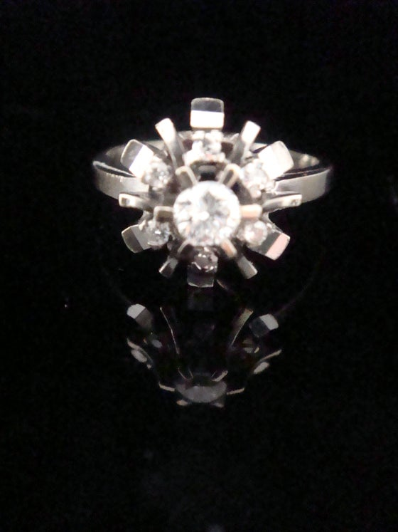 Image of Retro 18ct white gold diamond cluster ring