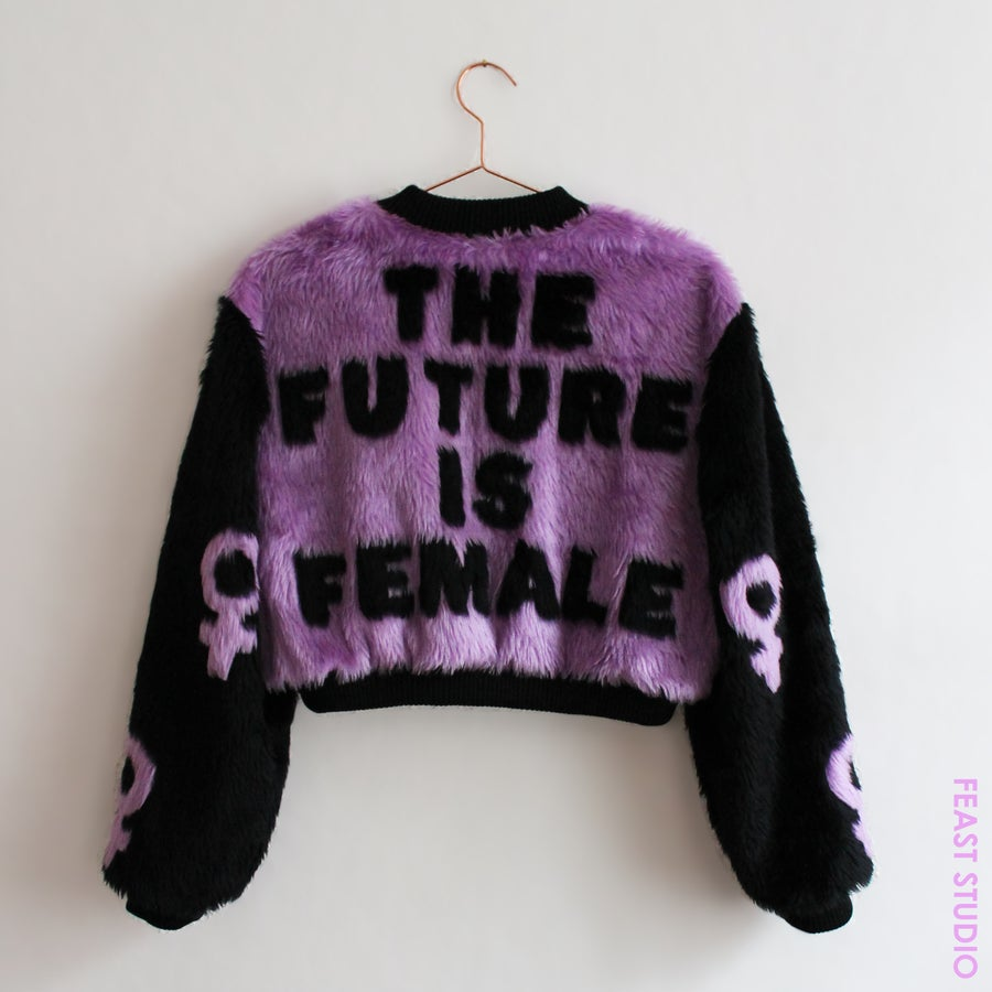Image of THE FUTURE IS FEMALE cropped faux fur bomber jacket