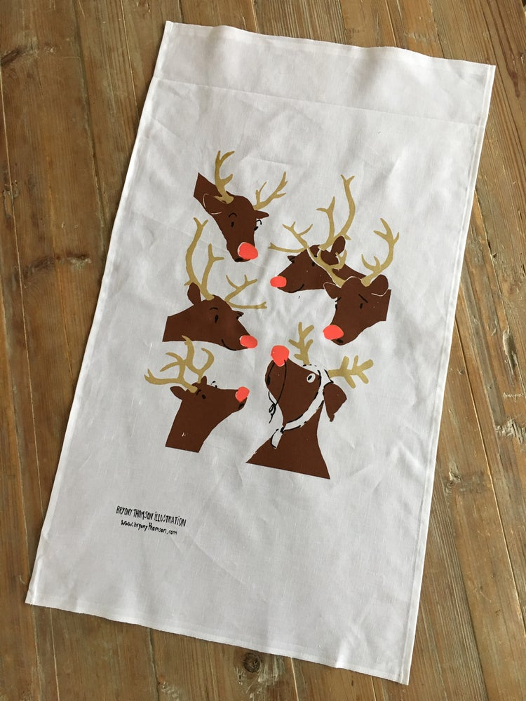 Image of Hand Screenprinted Rudolph Tea-towel