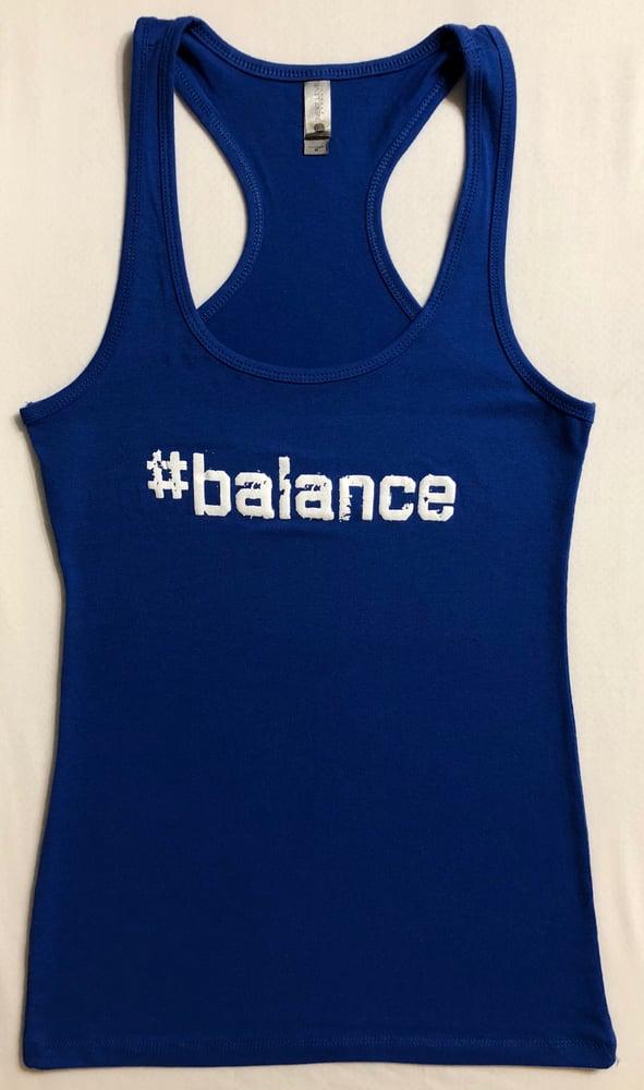 "Image of ""#balance"" WOMENS RACERBACK - BLUE"