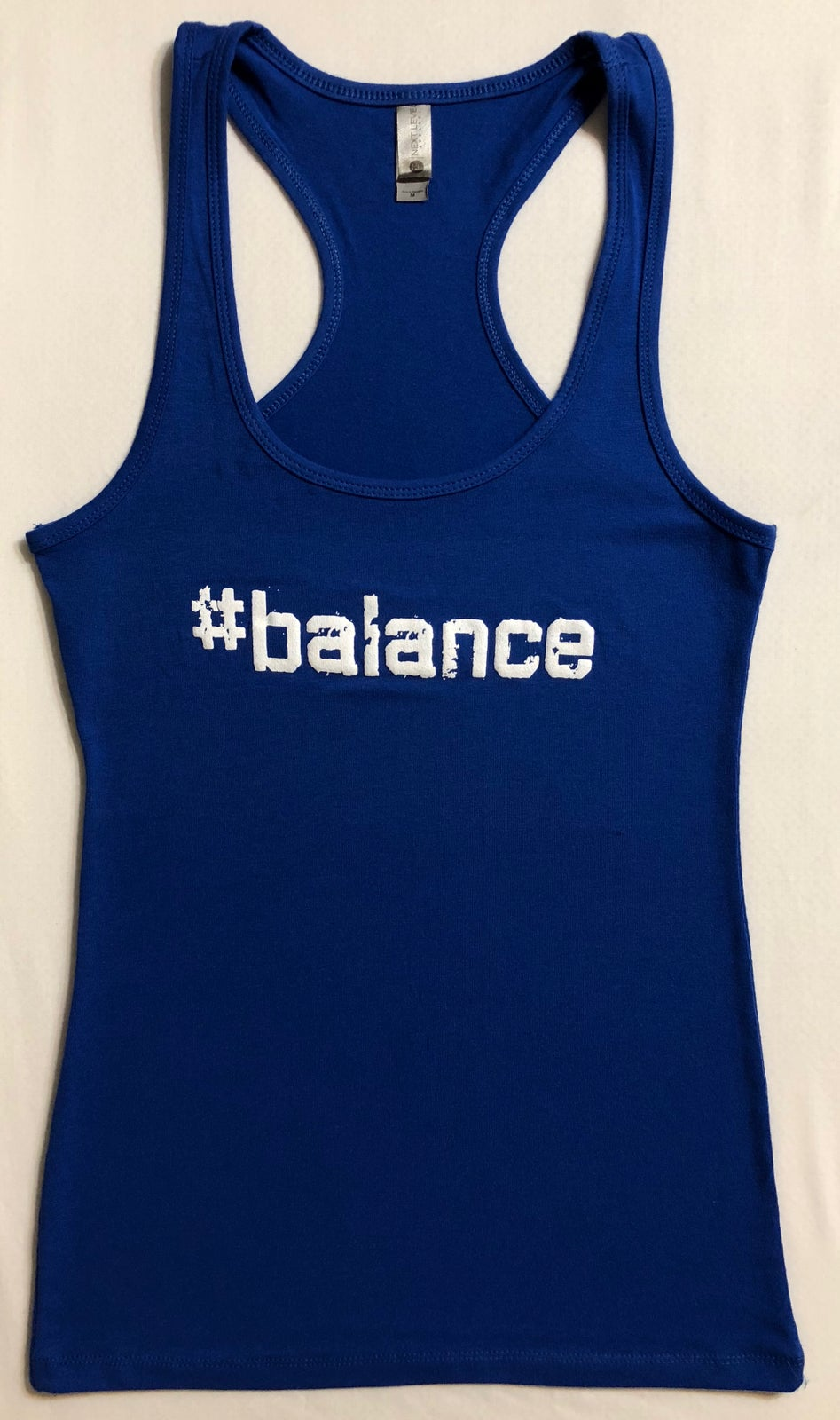 "Image of ""#balance"" WOMENS RACERBACK - BLUE"