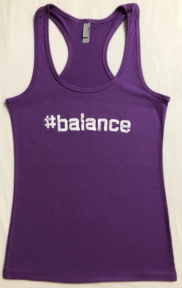 "Image of ""#balance"" WOMENS RACERBACK - PURPLE"