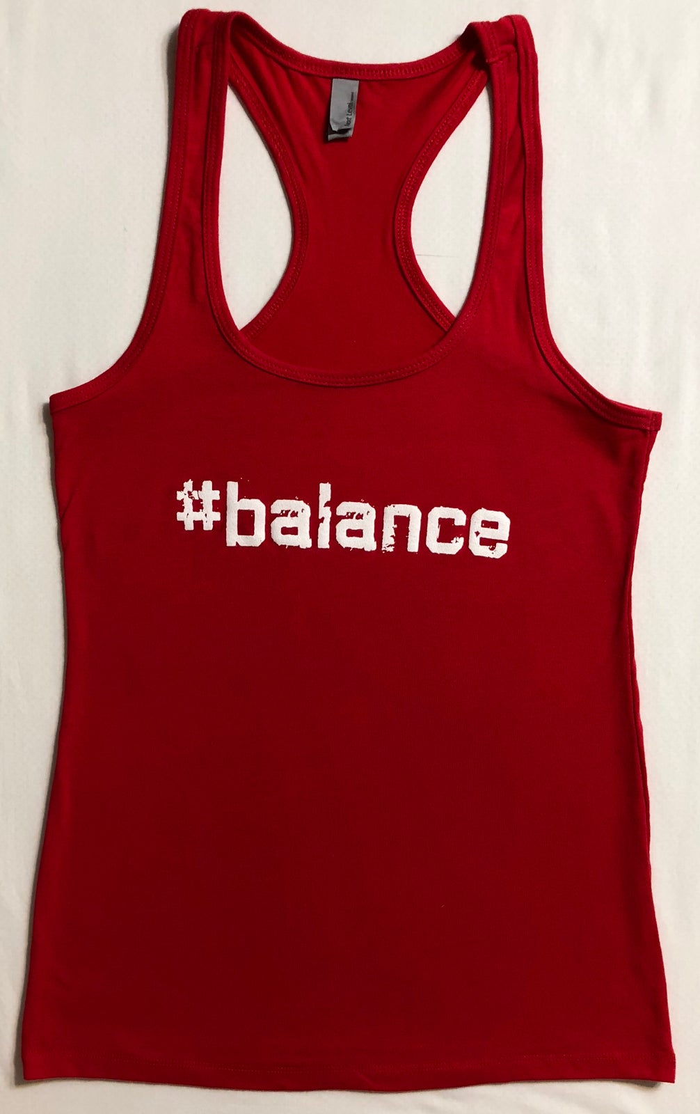 "Image of ""#balance"" WOMENS RACERBACK - RED"