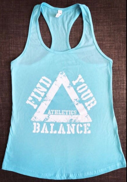 "Image of ""BFL"" WOMENS RACEBACK TANK - CANCUN BLUE"